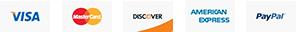 Visa, MasterCard, Discover, American Express, PayPal
